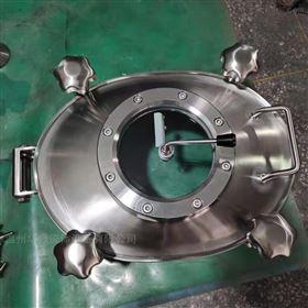 300*400不锈钢椭圆压力人孔带刮板视镜