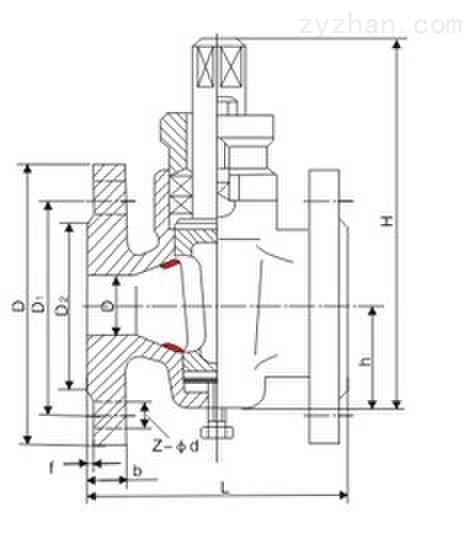X43W-0.6P/RC 二通铸钢法兰式旋塞阀主要连接尺寸图