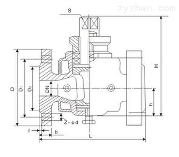 BX43W-10C/P二通保温法兰式碳钢旋塞阀外形结构尺寸