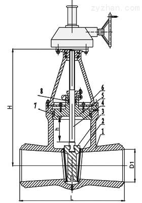 Z560Y-200 Z560Y-320高压伞齿轮闸阀主要外形和连接尺寸图