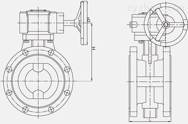 D341F4-10/16、D341F46-10/16衬氟法兰蝶阀(中线)结构图片