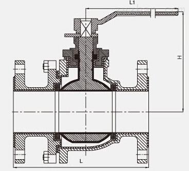 Q41F4-10/16、Q41F46-10/16C衬氟球阀结构图片